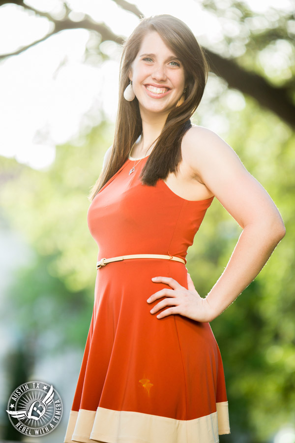 Longhorn graduation pictures on the UT Austin campus - burnt orange sundress
