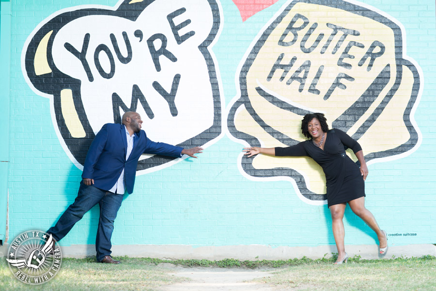 Downtown Austin engagement session at the You're My Butter Half mural