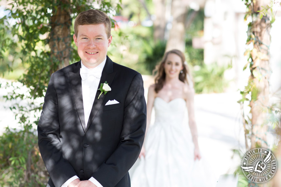Elegant Casa Blanca on Brushy Creek wedding photos - bride and groom first look