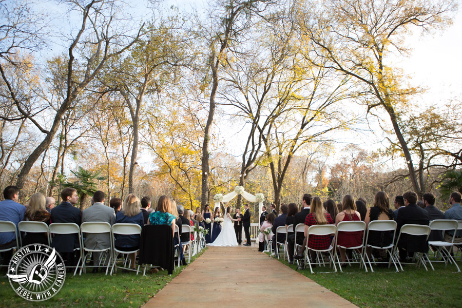 Elegant Casa Blanca on Brushy Creek wedding photos - bride and groom during wedding ceremony by Short and Sweet Weddings