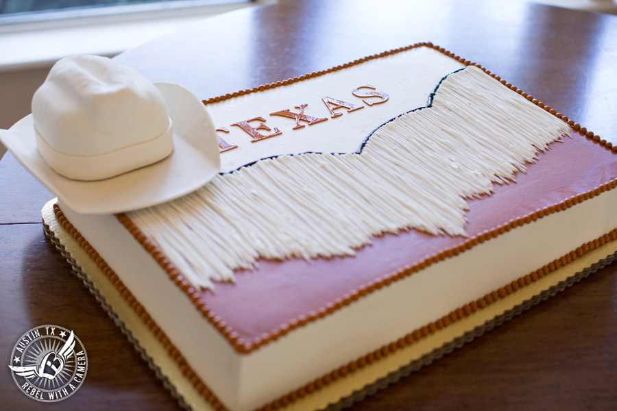 Elegant Casa Blanca on Brushy Creek wedding photos - UT Band groom's cake by Sweet Treets Bakery for wedding reception