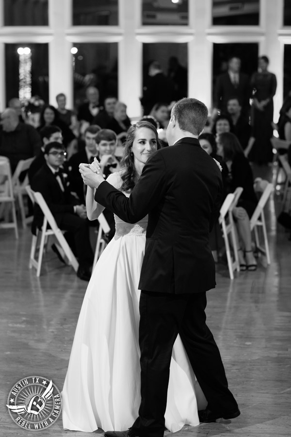 Elegant Casa Blanca on Brushy Creek wedding photos - bride and groom's first dance with 1st Class Entertainment wedding DJ