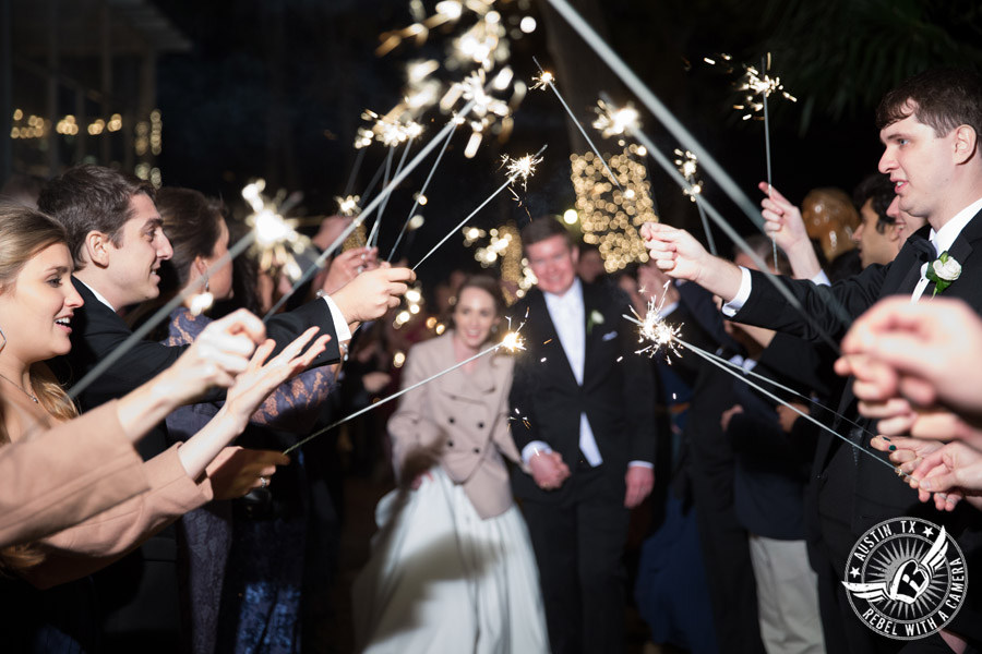Elegant Casa Blanca on Brushy Creek wedding photos - bride and groom leave wedding reception with sparkler exit