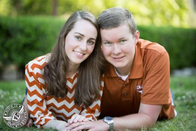 Longhorn engagement session on the UT campus in Austin