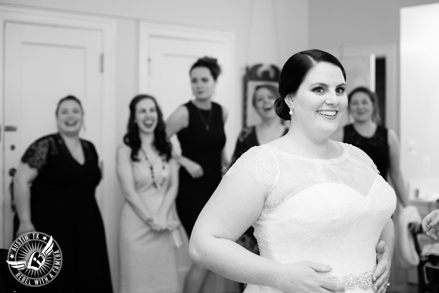 Fun wedding pictures at the Texas Federation of Women's Clubs Mansion - smiling bride gets ready - Vain Salon - Nicole Schultz Make-Up - Belle Saison Bridal Salon