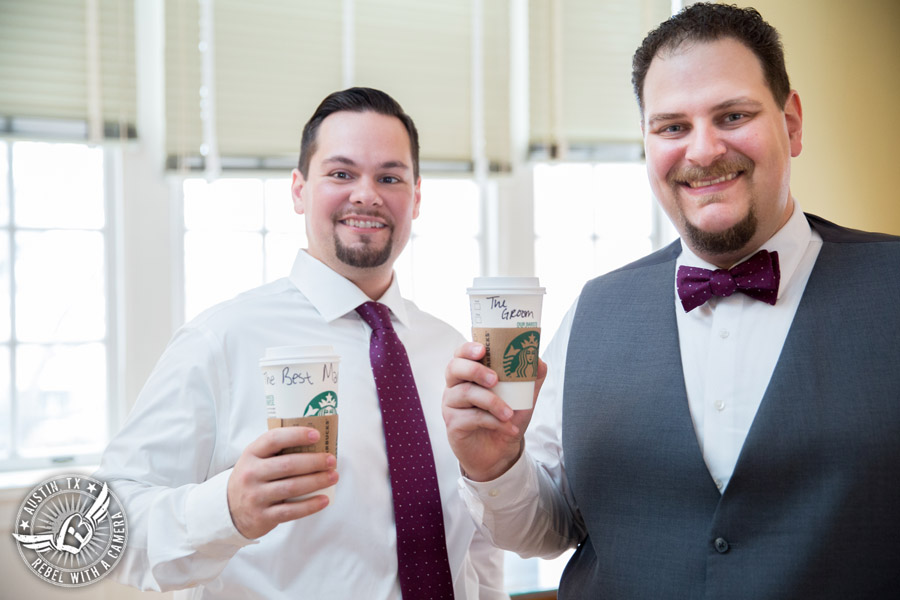 Fun wedding pictures at the Texas Federation of Women's Clubs Mansion - Starbucks for the groom and the best man