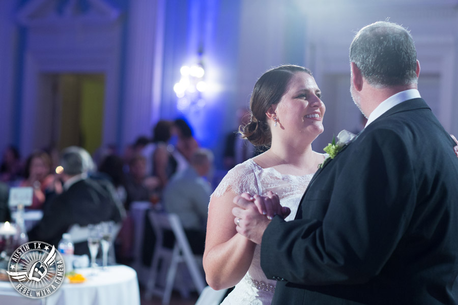 Fun wedding pictures at the Texas Federation of Women's Clubs Mansion - bride dances first dance with her father - The Austin NINES band