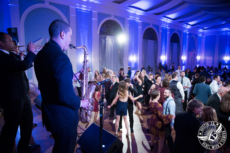 Fun wedding pictures at the Texas Federation of Women's Clubs Mansion - guests dance at wedding reception - David Young Presents - The Austin NINES band
