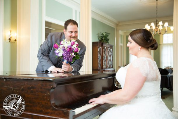 Fun wedding pictures at the Texas Federation of Women's Clubs Mansion - bride plays piano for groom - Vain Salon - Nicole Schultz Make-Up - Freytag's Florist - Belle Saison Bridal Salon