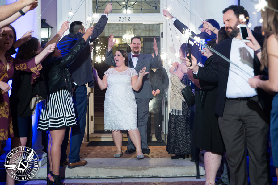 Fun wedding pictures at the Texas Federation of Women's Clubs Mansion - bride and groom leave the wedding reception to sparker exit - David Young Presents - The Austin NINES band