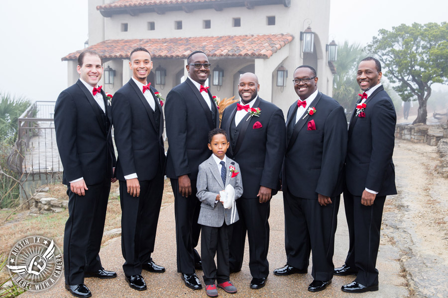Pictures of weddings at Chapel Dulcinea - groom and groomsmen with red carnation boutonnieres from HEB Blooms - Austin Wedding Planners by Rosa