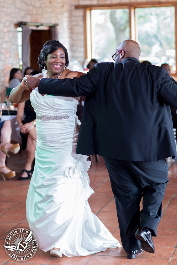 Pictures of weddings at Thurman's Mansion in Driftwood, TX - bride and groom dance first dance during the wedding reception - Austin Wedding Planners by Rosa