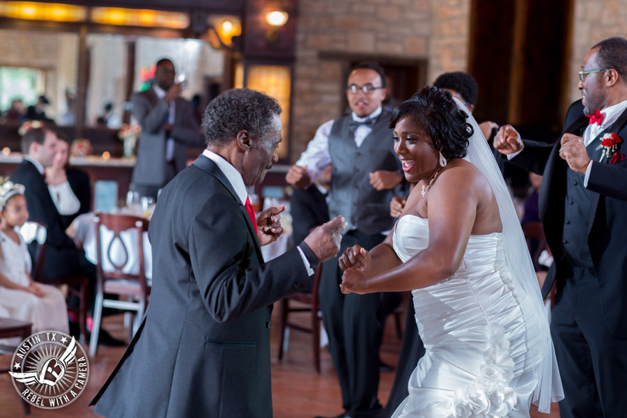 Pictures of weddings at Thurman's Mansion in Driftwood, TX - bride dances father daughter dance during the wedding reception