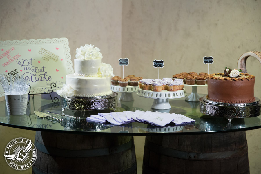 Lone Oak Barn wedding photos - wedding cake and gluten free dairy free cupcakes from Madi Cakes in the Main Hall