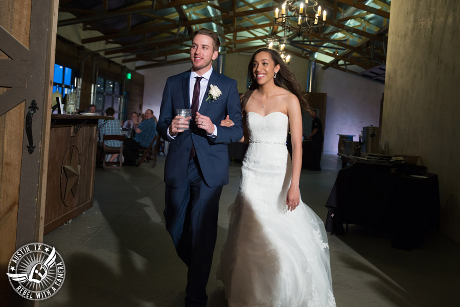 Lone Oak Barn wedding photos - bride and groom are announced as a married couple at the wedding reception