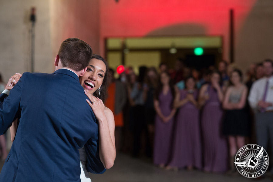 Lone Oak Barn wedding photos - bride and groom dance their first dance as a married couple at the wedding reception