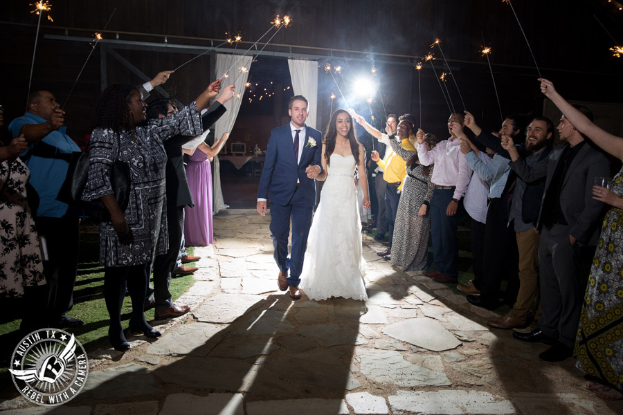 Lone Oak Barn wedding photos - bride and groom sparkler exit at the end of the wedding