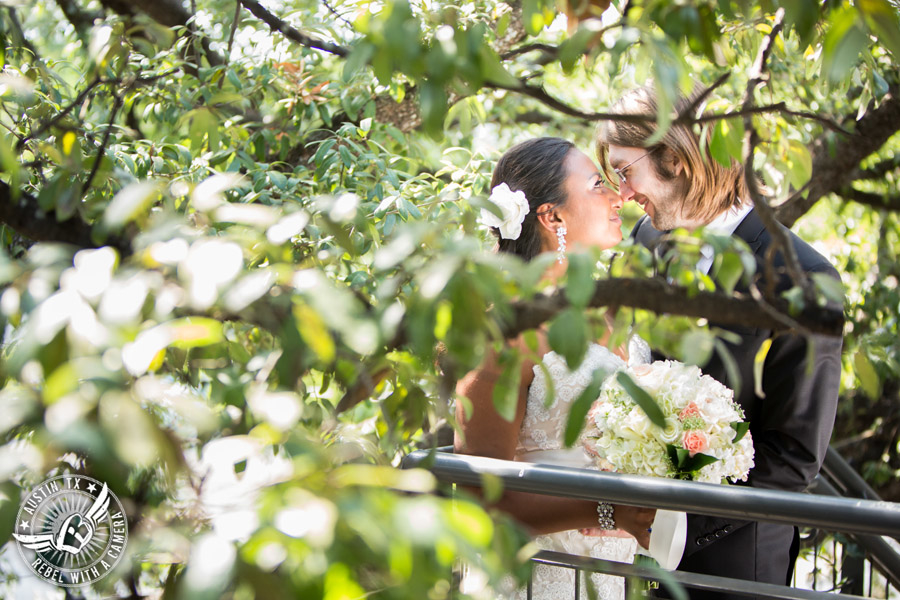 Austin wedding photographer at Olive and June - bride and groom in the trees